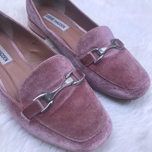 Steve Madden 7.5 Pawly Blush Velvet Loafer Shoes